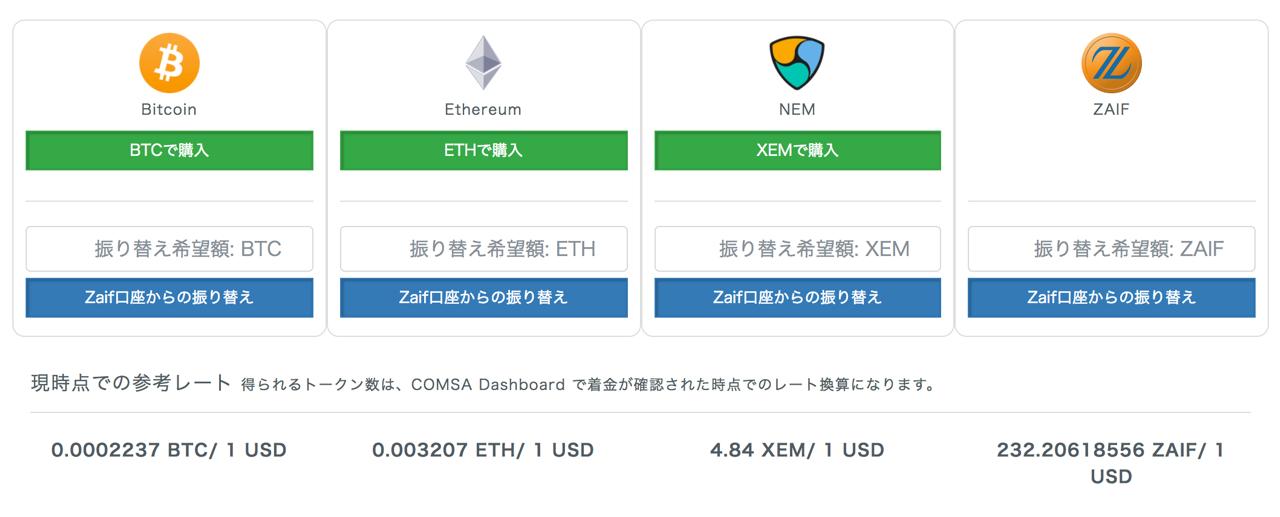 各仮想通貨でCOMSAを購入