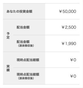 投資金額5万円、予定配当2500円
