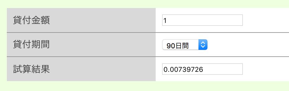 利用料(利息)計算シミュレーター
