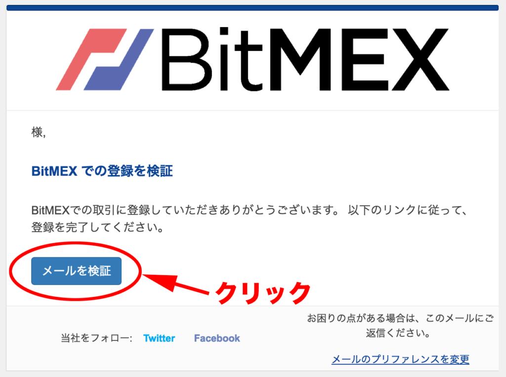 BitMEXの登録確認メール